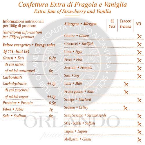 Confettura Extra di Fragole e Vaniglia vaso 220 gr